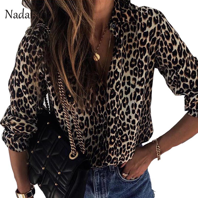 Nadafair Long Sleeve Leopard   Blouse   Fashion 2018 Turn Down Autumn Chiffon   Blouse     Shirt   Print 3XL Plus Size Top And   Blouses   Women