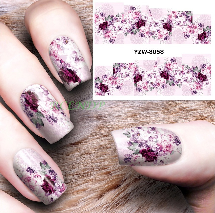 Water sticker for nails art decorations slider flowers nail stickers design decals manicure lacquer foil accessoires polishing 4 купить