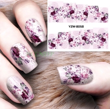 Water sticker for nails art decorations slider flowers nail stickers design decals manicure lacquer foil accessoires polishing 4