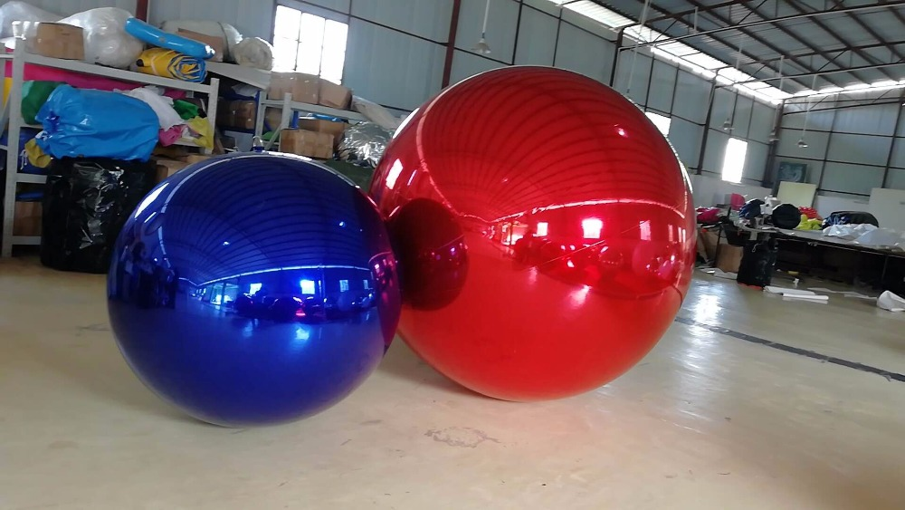 Купить с кэшбэком Promotion 0.8M Red Inflatable Mirror Ball / Inflatable Advertising Ball For  Christmas Decoration