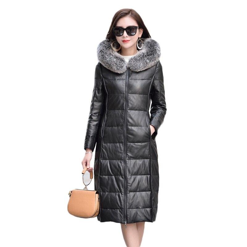 Women Sheepskin coat winter new leather coat women hooded Fox fur collar leather jacket women reverse leather down jacket female