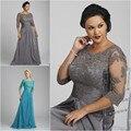 Frete Grátis 2015 New Arrival A Elegante Linha de Cap Haf Luva Lace Apliques Chiffon Longo Mãe dos Vestidos de Noiva vestidos