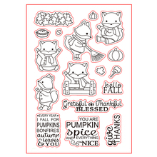 Hello Fall Cute Fox Transparent Clear Silicone Stamp Set for DIY Scrapbooking/Photo Album Cards Making Decorative Clear Stamp winter fox clear stamp set lawn fawn