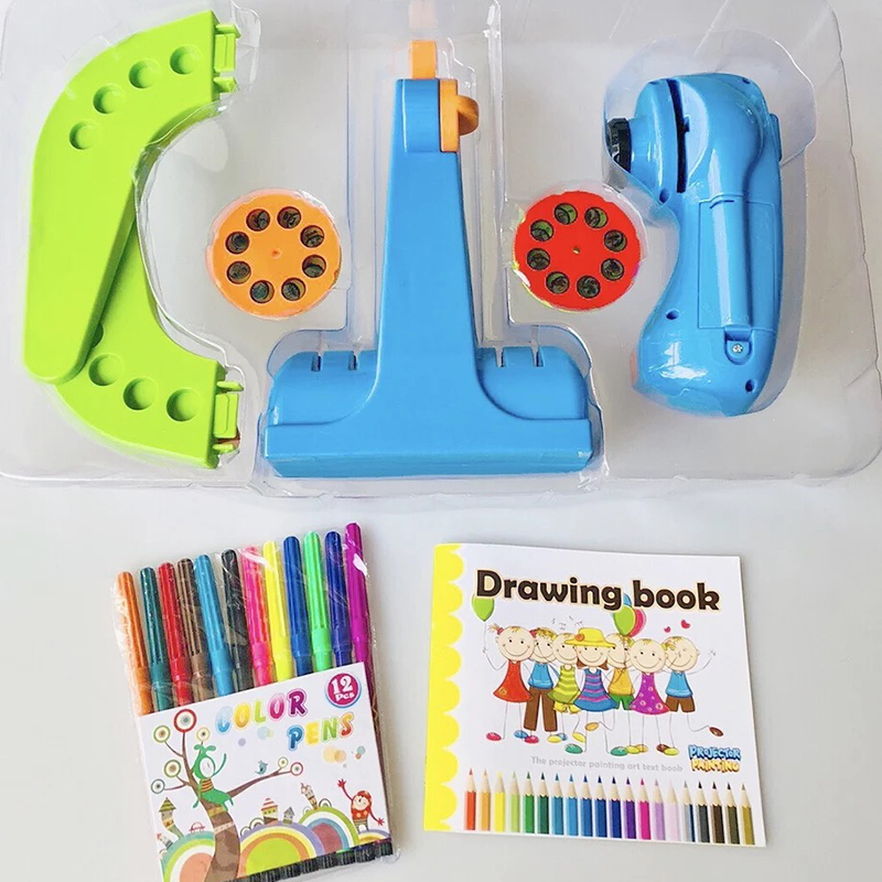 Children Painting Drawing Projector Board Pen Baby Sketchpad Projection Toys Set blue in Drawing Toys from Toys Hobbies