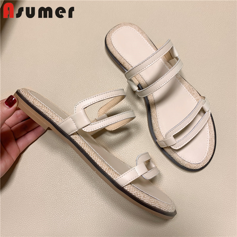 ASUMER Ladies Shoes Sandals-Size Shallow Comfortable Genuine-Leather Casual Women New