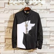 #0142 Spring Autumn Cat Print Mens Shirt Long Sleeve Slim Fit Hip Hop Streetwear Casual Shirts Male Black White Lapel Collar 5XL