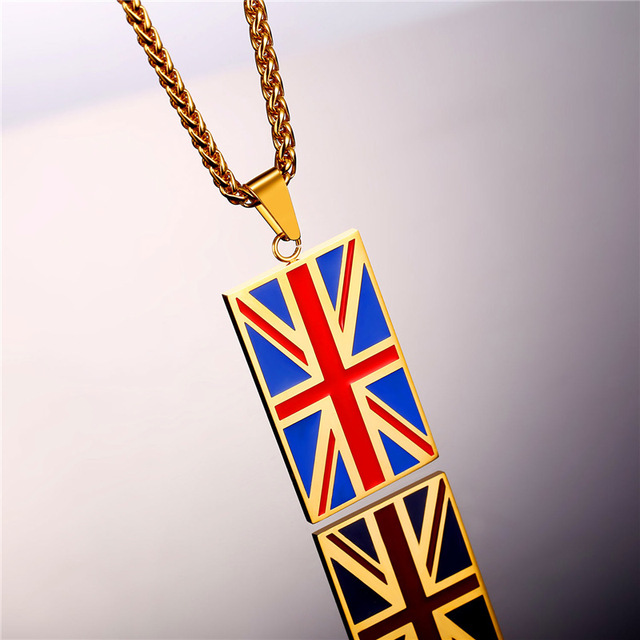 New Hot England National Flag Pendant Stainless Steel/Gold Color UK Patriot Necklace Women/Men Jewelry 2017 Wholesale GP2446 2