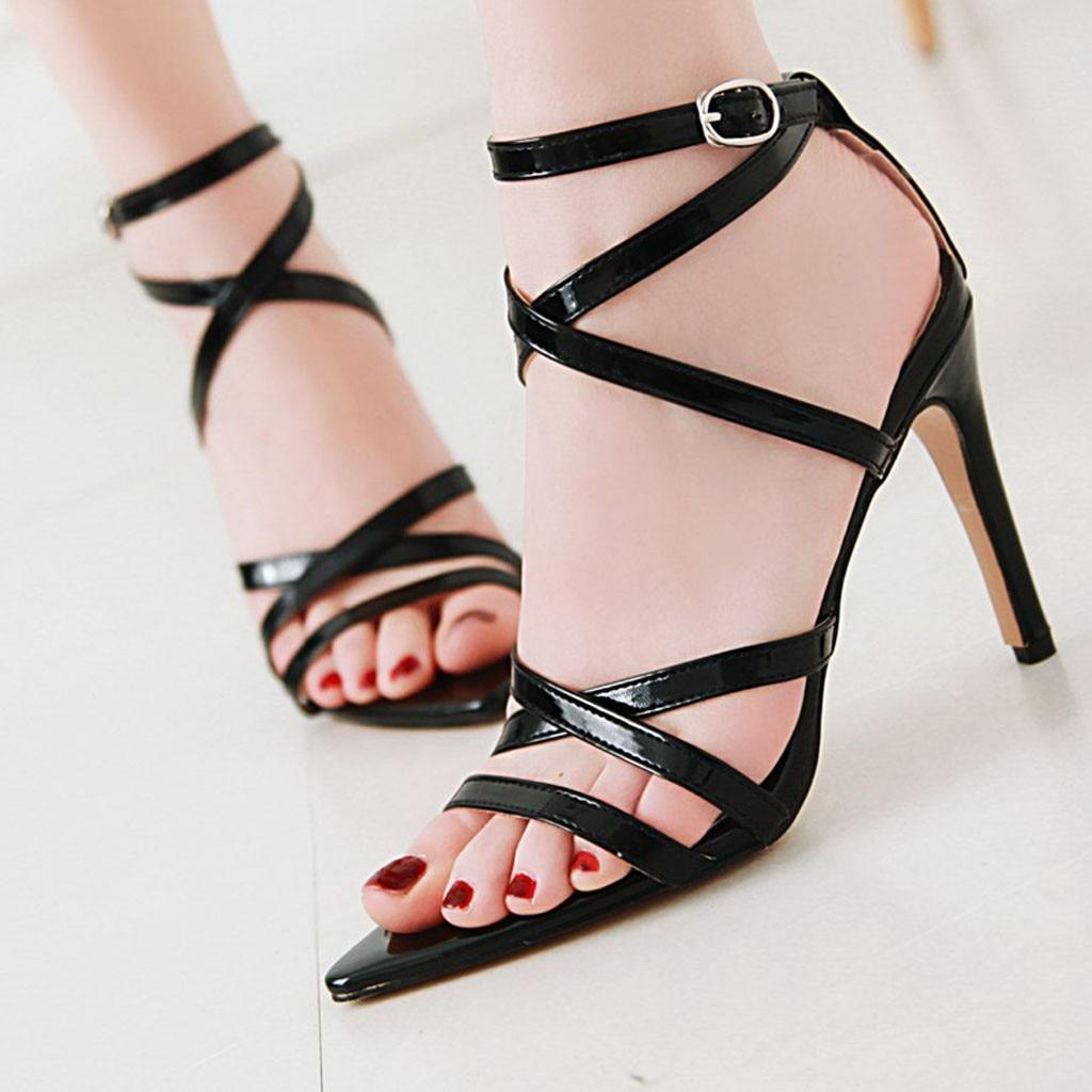 100% Di Alta Qualità Delle Donne Di Vernice A Punta Della Caviglia Di Colore Solido Fibbia Tacco Alto Sandali Casual Scarpe 40 Processi Di Tintura Meticolosi