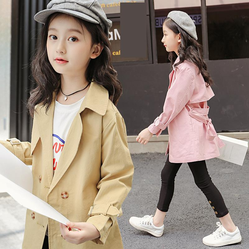 2018 Autumn Teenage Girls Trench Coats Jackets For Girls Clothes 10 12 14 Year Children Clothing Tops Kids Windbreaker Outerwear denim jackets for girls outerwear long sleeve letter girls trench coats spring autumn girls tops windbreaker 3 5 7 9 11 12 years