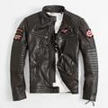 Вышивка Мотоцикл Куртки мужские Кожаные Куртки Индийский Тотем