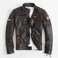 Embroidery Motorcycle Jackets Men's Leather Jacket Indian Totem