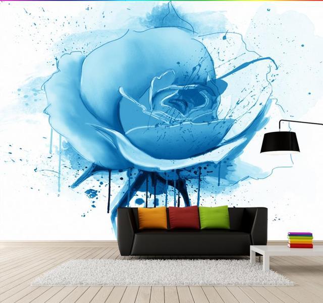 Moderne Kurze Malerei Blaue Rose 3D Wandbild Tapete Für Wohnzimmer  Schlafzimmer Papel De Parede 3d Europea