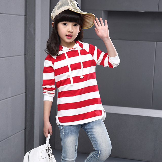 Girl Striped Hat Long Sleeve Sweatshirt 2016 Spring / Autumn Children Casual Black / Red Fashion High Quality Tops 4 6 8 10 12T