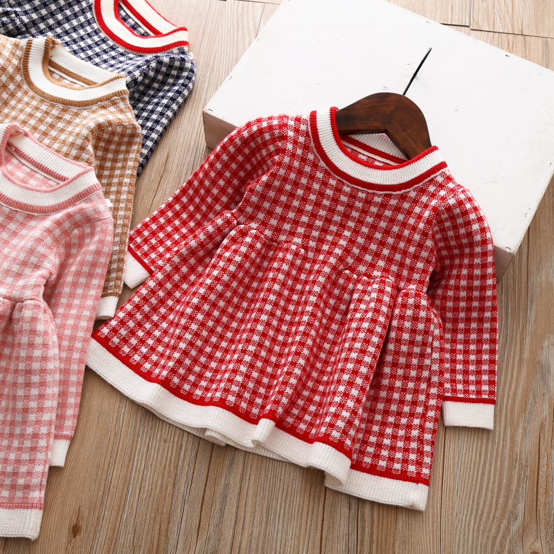 7e21e2caa4e7 Toddler Girl Spring Autumn Dresses Baby Long Sleeve Sweater Knit Plaid  Princess Kids Dresses for Little