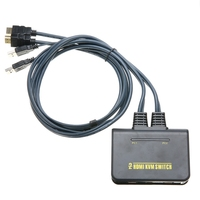 New 2 Port USB HDMI KVM Switcher Black 120cm USB HDMI Switch With Cable Suitable For