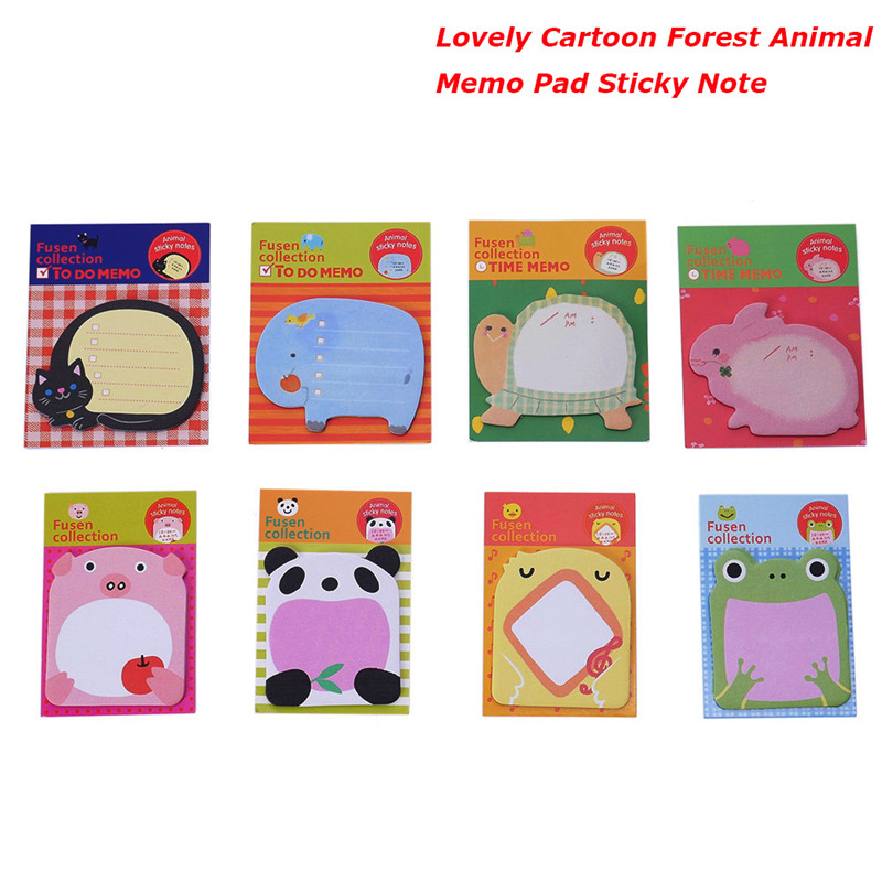 Top Selling Cute Cartoon Forest Animal Memo Pad Sticky Notes Page stickers kawaii Marker Planner Animal memo sticker комплект sc