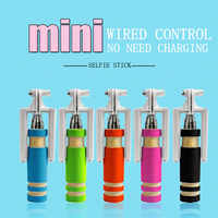 5 Colors Mini Extendable Handheld Selfie Stick Wired Remote Shutter Monopod Portable Outdoor Mini Selfiestick For Android IPhone