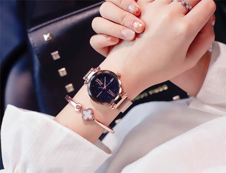 Luxury Rose Gold  Women Watches Minimalist Starry Sky Magnet Buckle Ladies Watch Fashion Casual Female Waterproof  Wristwatch (2)