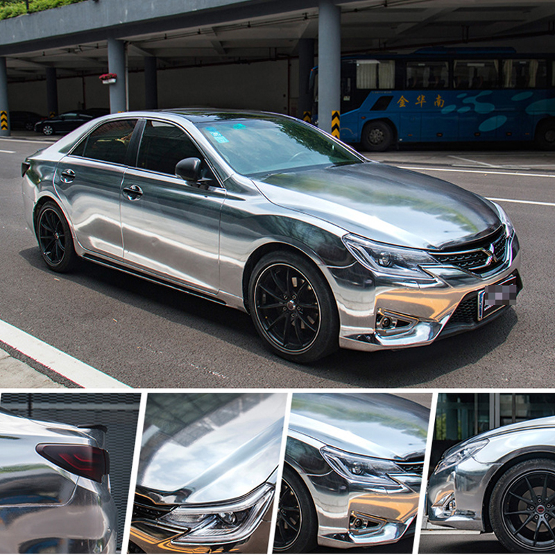 Image 2 - Silver Mirror Chrome Electroplate Vinyl Car Wrapping Foil Decal Car Motorcycle Decoration Membrane Sticker ORINO WRAPS-in Car Stickers from Automobiles & Motorcycles