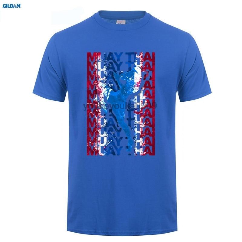 GILDAN T Shirt Men Muay Thai Boxinger Flag Fighter Thailand Martial Art Mens Round Collar Short T-Shirt Create Mens Tees