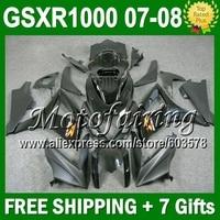 7gifts HOT Black For SUZUKI GSXR1000 K7 07 08 GSX R1000 GSXR 1000 K7 ALL Black 802 GSX R1000 07 08 2007 2008 NEW Fairings Kit