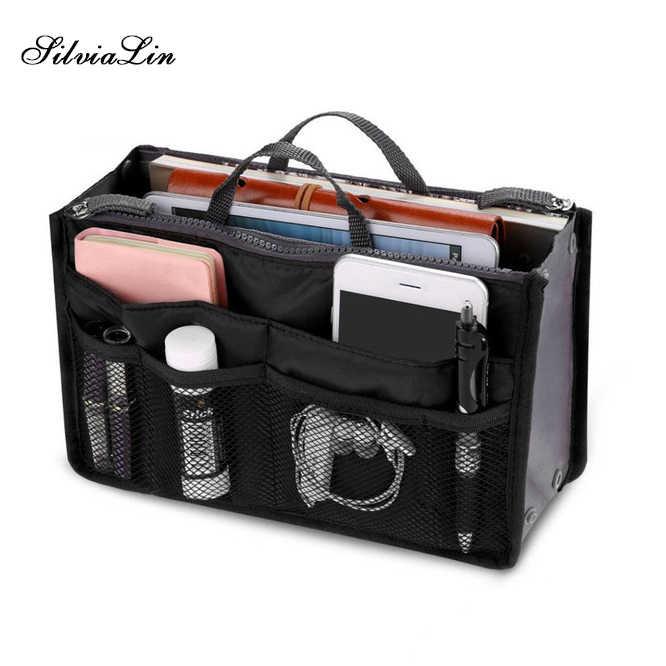 b1be0e891522 Organizer Insert Bag Women Nylon Travel Insert Organizer Handbag Purse  Large Liner Lady Makeup Cosmetic Bag Cheap Female Tote