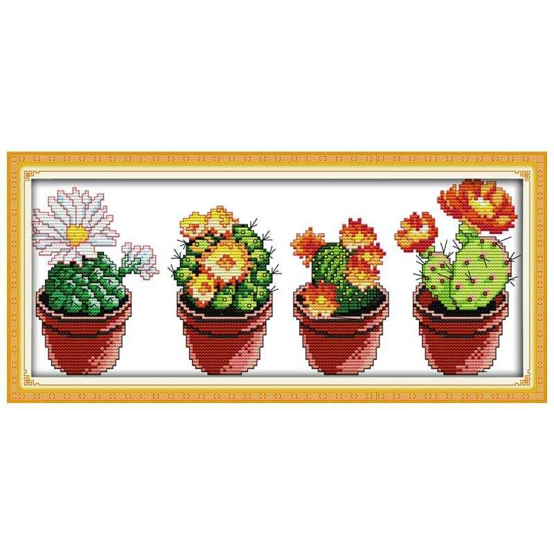 Beautiful cactus Patterns Counted Cross Stitch 11CT 14CT Cross Stitch Sets Wholesale Cross-stitch Kits Embroidery Needlework