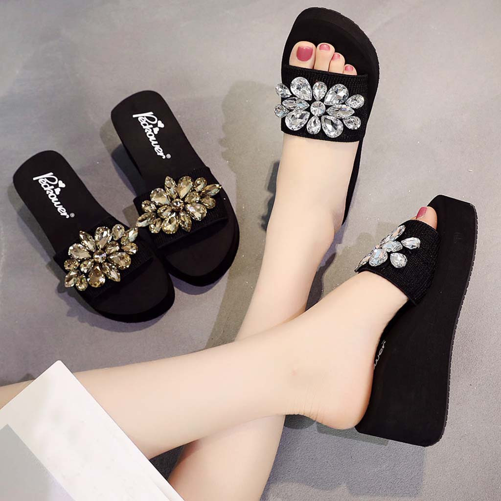 2019 Women's Slippers Summer Beach Casual Shoes Girls Crystal Wedges Slipper Fashion Loafers Platform Mujer Slides Women's Slate(China)