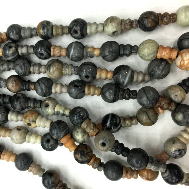 Naturel Véritable Gris Blanc Picasso Jasper Pagode Tee Tête de Bouddha Tibet Gourou Perles Fit Bijoux DIY Colliers (10 Perles/lot) 04228