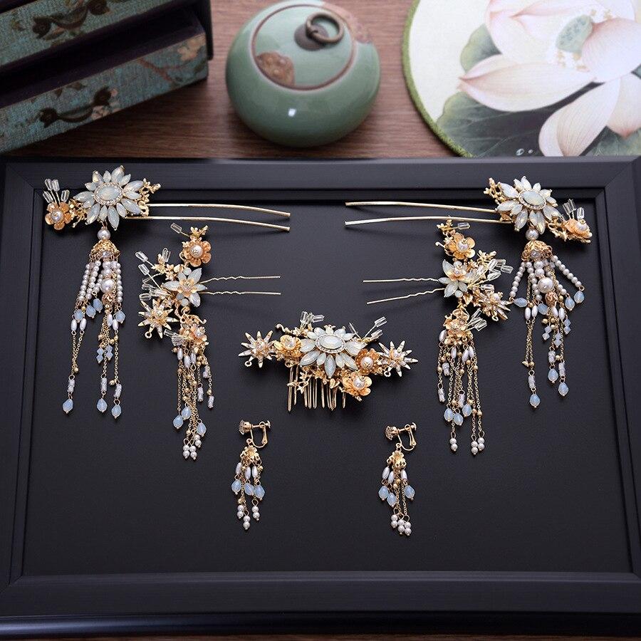 2 STÜCKE Traditionellen Chinesischen Stil Braut Hochzeit Haar Kamm Anti