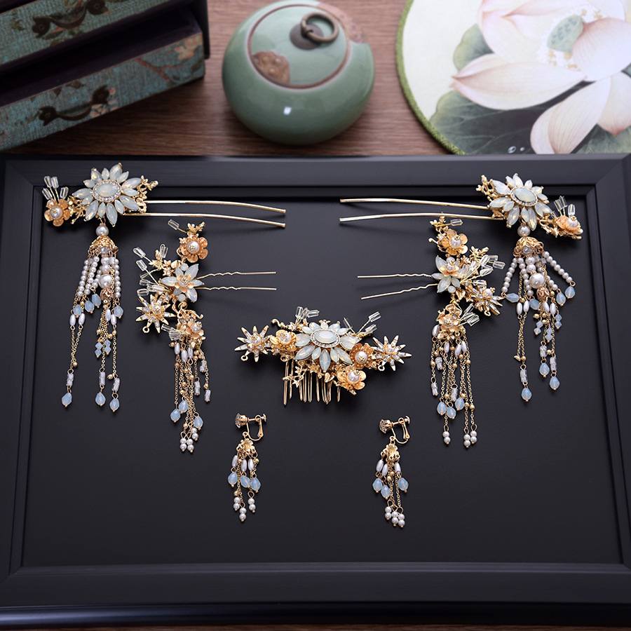 Bride Chinese vintage headdress beaded Tassel protein hairpins comb crystal hair jewelry vintage wedding hair accessories цена