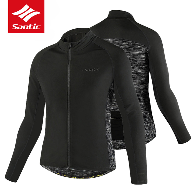 Santic Winter Cycling Jersey Long Sleeve Thermal Fleece Cycling Clothing  Windproof Breathable Bicycle Wind Coat Bike Jersey Men 19848aff7