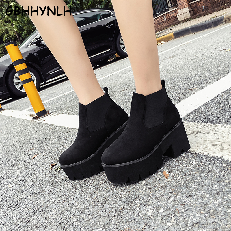 GBHHYNLH Fashion Black Ankle Boots For Women Thick Heels New Autumn Flock Platform Shoes High Heels
