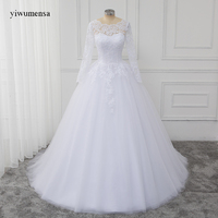 Yiwumensa Vestido De Casamento Long Sleeves Appliques Wedding Dress 2017 Vestido De Noiva Curto Dress Ball