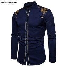 Adisputent мужские официальные рубашки с длинным рукавом Роскошные Блестящие модные металлические рубашки для мужчин размера плюс ночной клуб Homme Chemise