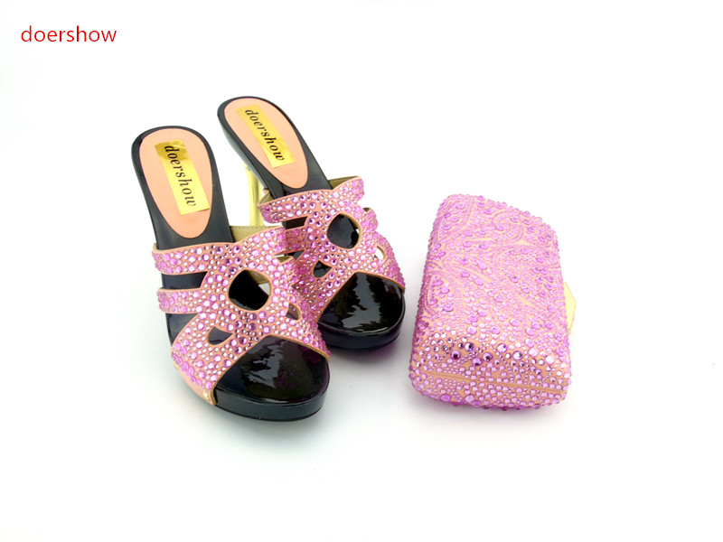 doershow New African Women Shoes and Bags Set Women Shoe and Bag To Match for Parties African Shoes and Bag Set for party HH1-4 doershow african shoe and bag set africa nigeria for women s shoes for wood bottom dd1 64