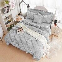 Fleece pleated winter bedding set full queen king size grey blue beige purple bed sheets bed skirt duvet cover set pillowcase