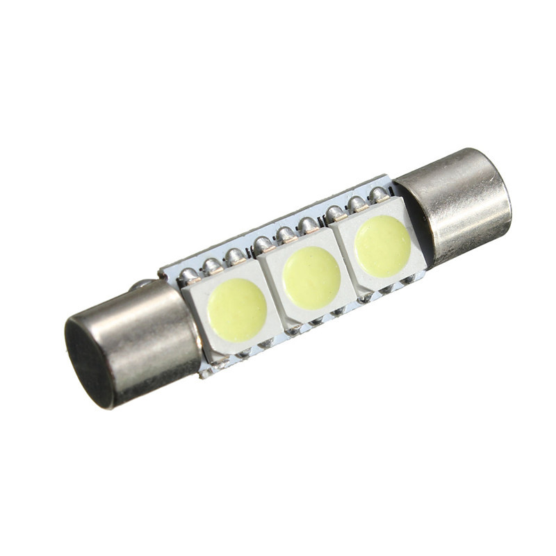2pcs 29mm T6 3 SMD 5050 LED Lamp Bulb For Car Interior Sun Visor Vanity Mirror Fuse Light Pure White DC12V car-styling carprie super drop ship new 2 x canbus error free white t10 5 smd 5050 w5w 194 16 interior led bulbs mar713