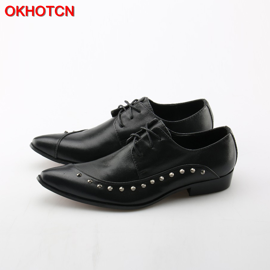 OKHOTCN Black Men Flats Genuine Soft Leather Casual Shoes Side Rivets Flat Mens Lace Up Shoes Promotion Business Office Shoes top brand high quality genuine leather casual men shoes cow suede comfortable loafers soft breathable shoes men flats warm