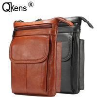 Man Gift Waist Pack Genuine Leather Inclined Shoulder Bag Casual Multifunction Phone Case Wallet Cover for Samsung for IPhone XR