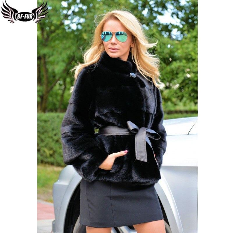 Женское пальто из натуральной кожи BFFUR, однотонная короткая приталенная верхняя одежда из натуральной кожи, зима 2019