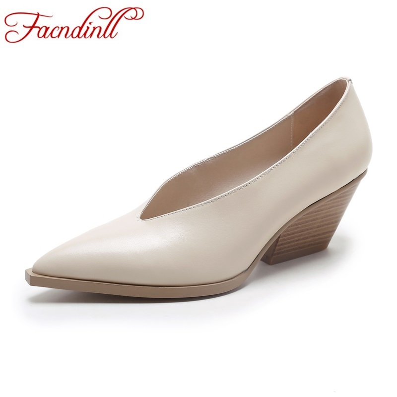 FACNDINLL new fashion women pumps new 2017 autumn wedges med heel pointed toe shoes woman dress office ladies casual shoes pumps  shofoo newest women shoes med heels pointed toe pumps for woman dress