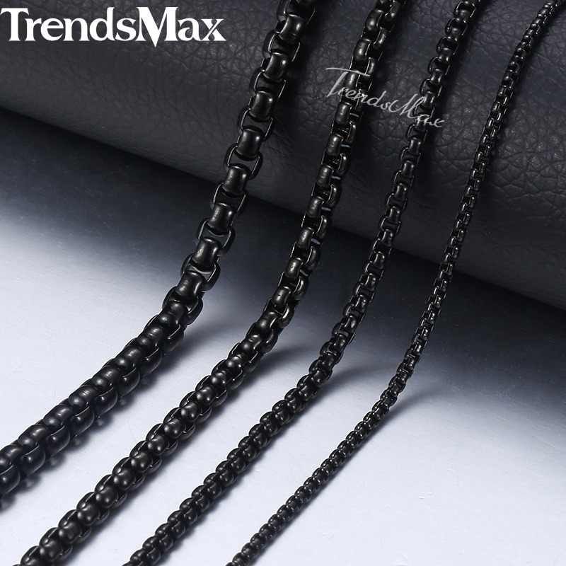 "Personalized 2-5mm Black Box Chain Necklace For Men Stainless Steel Necklace Men's Necklace Wholesale Jewelry 18-36"" KNM118"