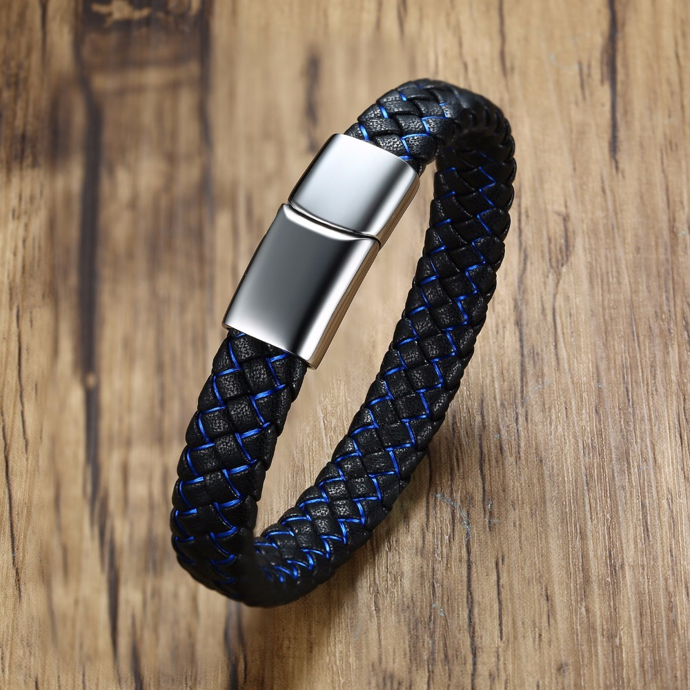 Thin Blue Line Two-tone Black Braided Leather Wristband Bracelet for Men Stainless Steel Magnetic Clasp Braslet Male Jewelry
