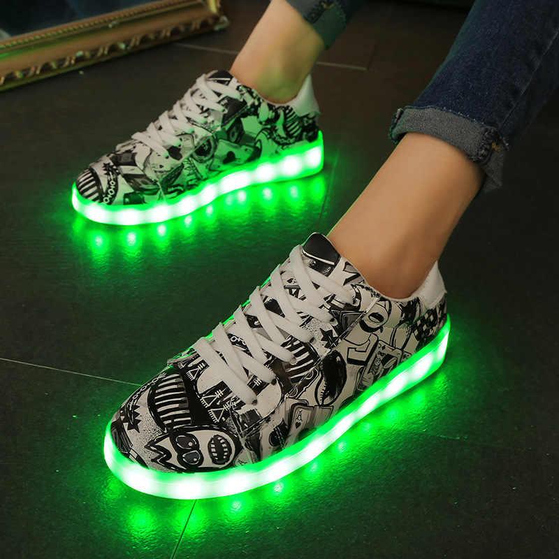 7ipupas 27-44 led Luminous รองเท้า light,Unisex sole superstar รองเท้าผ้าใบ led boy, สาว Light up รองเท้าผ้าใบ