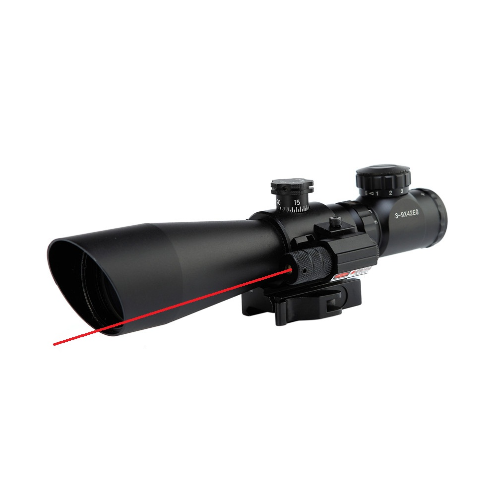 Tactical QD Riflescope 3-9x42EG Laser sight Hunting Rifle Scope Red Green Dot Illuminated Telescopic Sight Riflescopes tactial qd release rifle scope 3 9x32 1maol mil dot hunting riflescope with sun shade tactical optical sight tube equipment