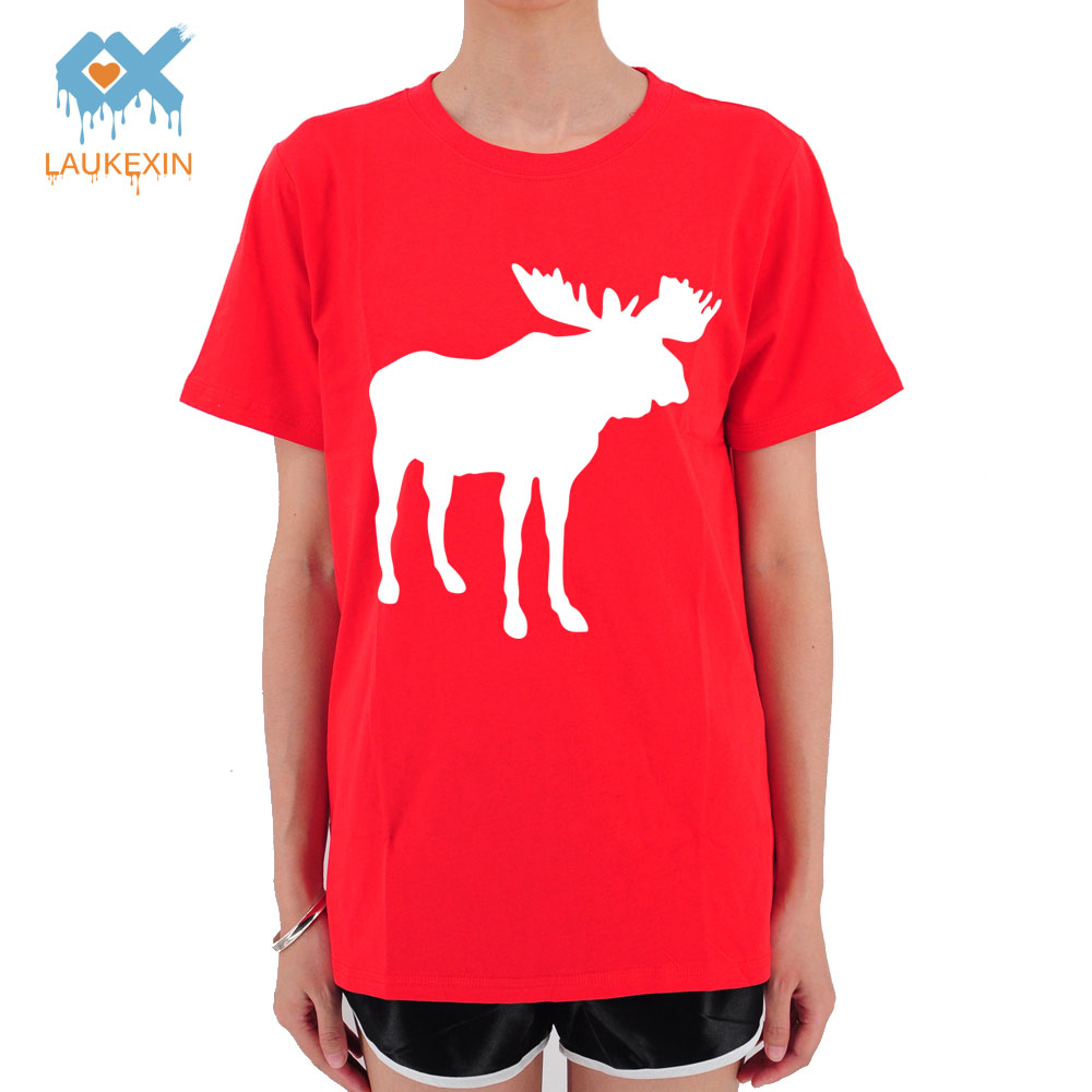 LAUKEXIN Vintage Christmas Deer Goat Printed Womens T Shirt Harajuku Ladies Summer Fashion Cool Tops Funny Tumblr Tshirts Tee