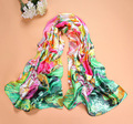 2016 New Flower printed Female spring high quality fashion brand colorful Faux silk scarf women satin scarves W107