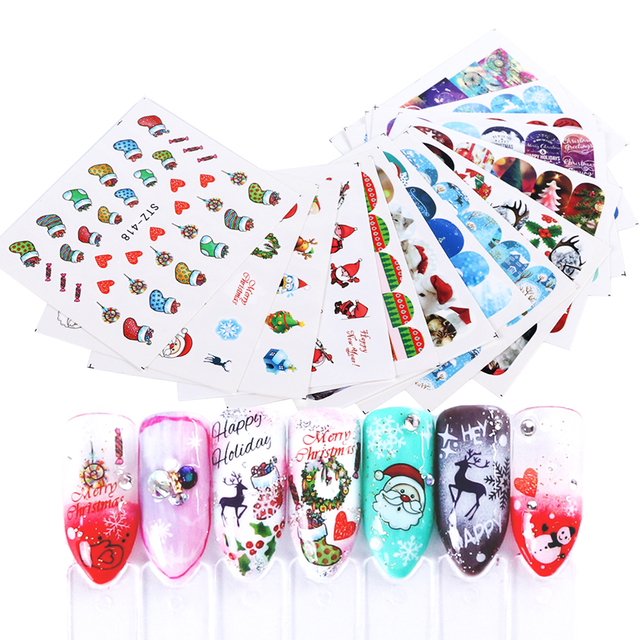 Santa Claus Nail Art: Aliexpress.com : Buy 1 Sheet Christmas Design Nail Sticker