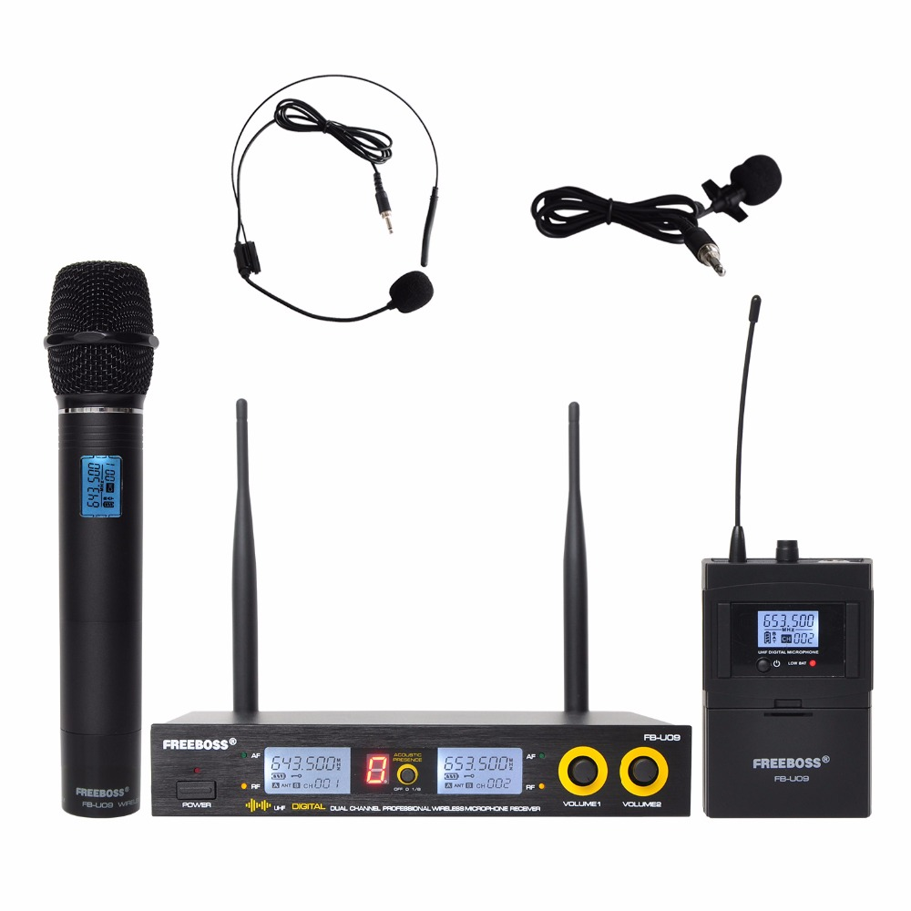 FB U09H Dual Way Transmitter Digital UHF Wireless Microphone with handheld Lapel Headset microphone for Karaoke